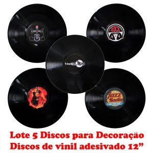 """Disco Adesivado para Decoração - Lote com 5 Discos Vinil Lp 12"""""""