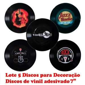 """Disco Adesivado para Decoração - Lote com 5 Discos Compacto 7"""""""